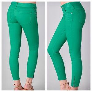 Free People Ankle Zip Skinny Jeans Emerald Green